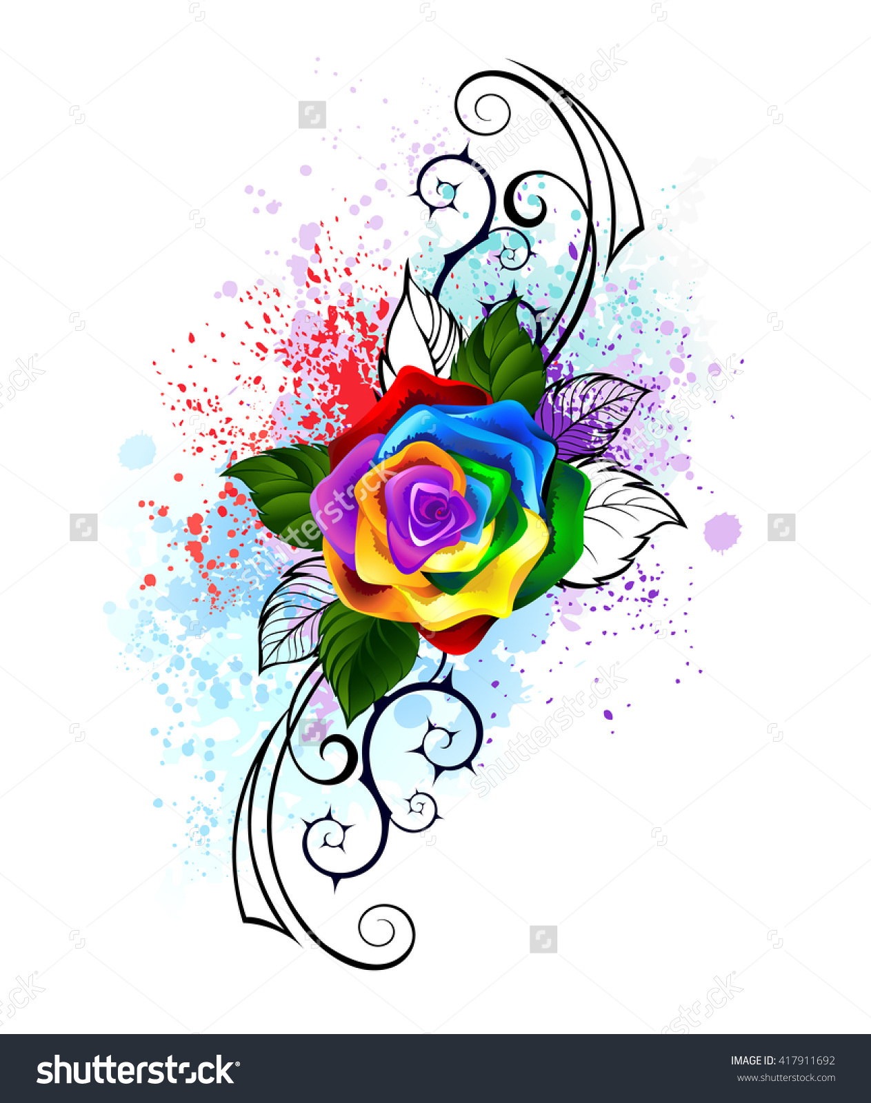 Bright Rainbow Rose Spiked Pattern On Stock Illustration 417911692.