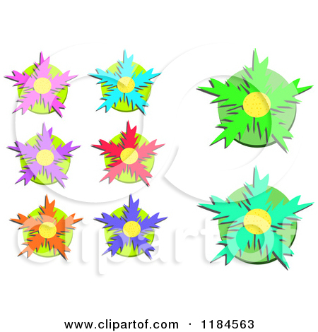 Cartoon of Colorful Spiky Flowers on Green Circles.