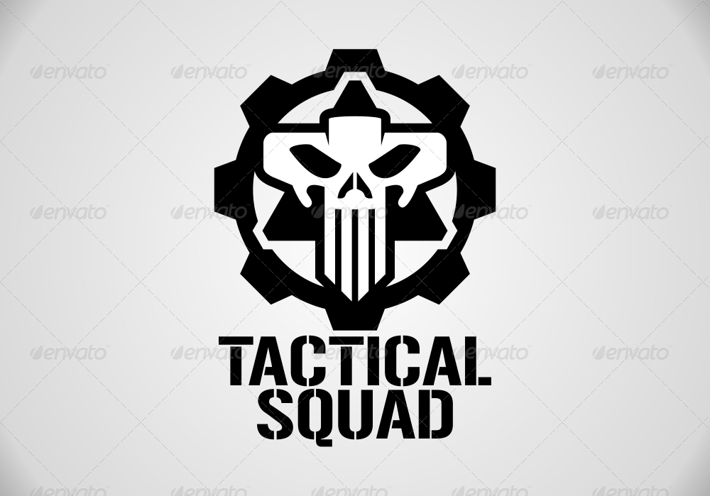 Tactical Squad Skull Logo Template.