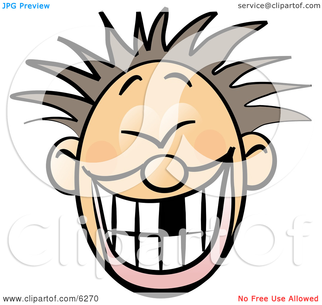 Smiley Faced Boy With Spiky Hair and Missing Tooth Clipart.