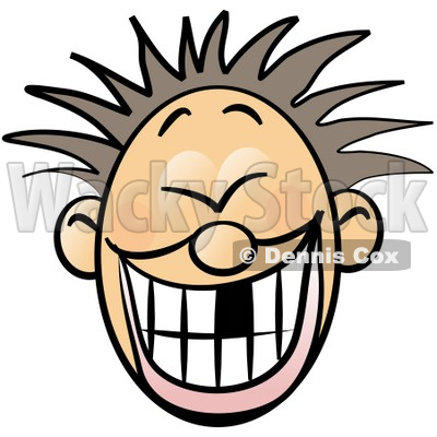 Faced Boy With Spiky Hair and Missing Tooth Clipart Illustration.