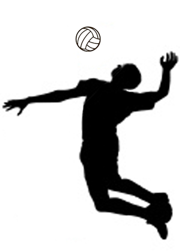 Spiking a volleyball clipart.