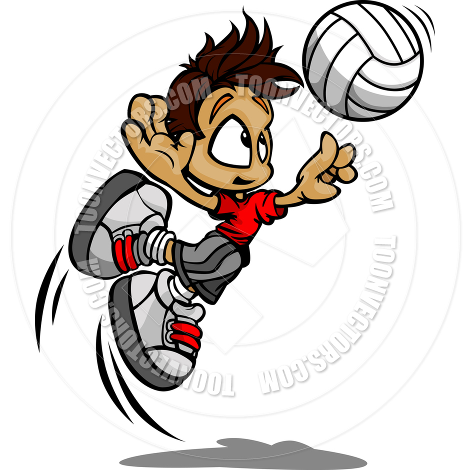 Kid Volleyball Player Boy Spiking Ball by Chromaco.