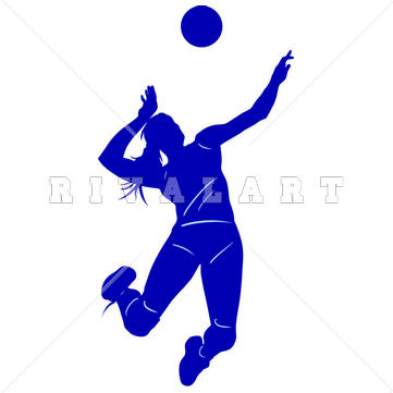 Girl Volleyball Spike Clipart.