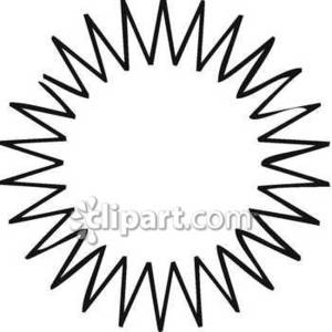 Outline of a Spiky Sun Royalty Free Clipart Picture.