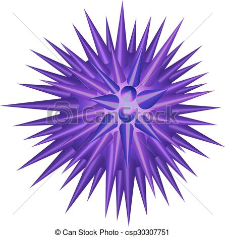 Clipart Vector of Purple spike ball on white illustration.