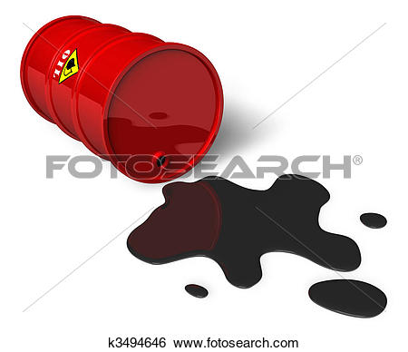 Stock Illustration of 3d trap illustration on oil spill disaster.