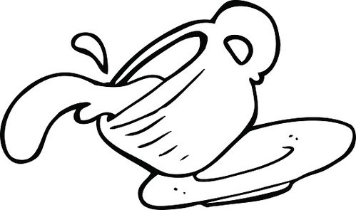 line drawing cartoon spilled coffee Clipart Image.