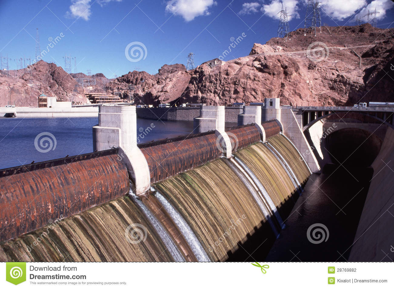 Close Up Of Hoover Dam Spillway Stock Photography.