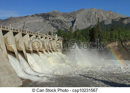 Stock Image of Hydro Dam Spillway.