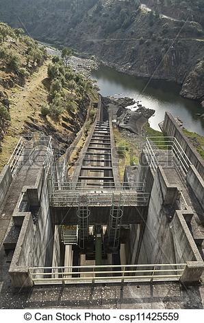 Stock Images of Dam spillway.