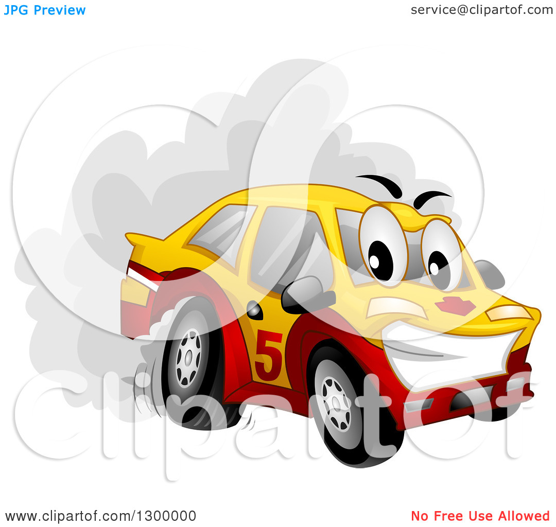 Clipart of a Cartoon Drifting Car Character Spinning Its Tires.