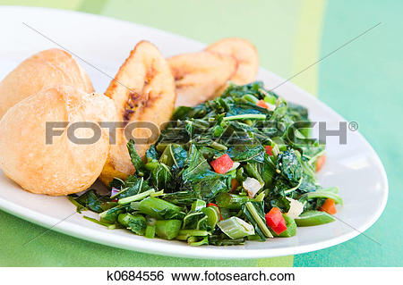 Stock Images of Speciality caribbean dish of callaloo (spinach.