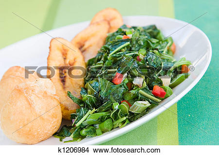Stock Photo of Speciality caribbean dish of callaloo (spinach.