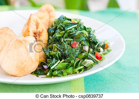 Picture of Speciality caribbean dish of callaloo (spinach) served.