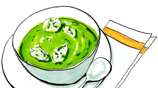 Lindsey Bareham's spinach soup with coriander 'dumplings'.