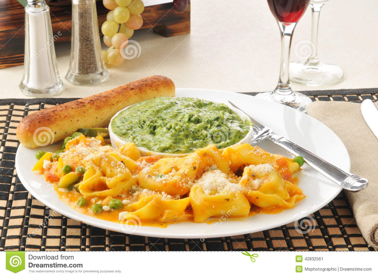 Five Cheese Tortellini Stock Photo.