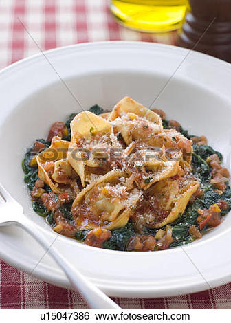 Stock Images of Vegetable Tortellini with Spinach and Tomato Salsa.