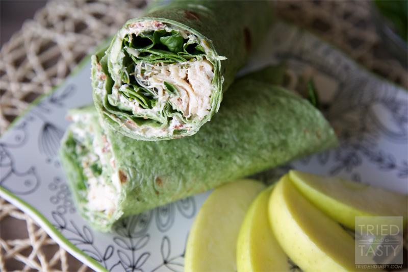 Chicken, Spinach & Cream Cheese Tortilla Wrap.