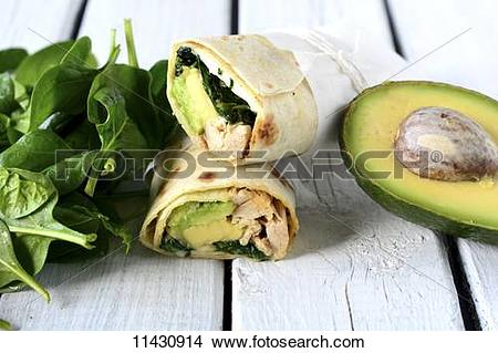 Stock Photo of Chicken, spinach and avocado wraps 11430914.
