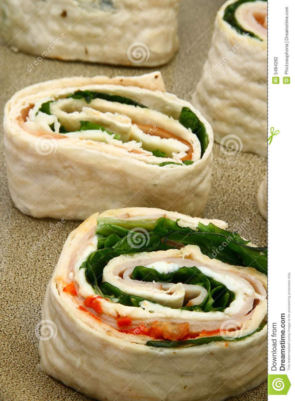 Spinach Ham Wrap With Ranch Stock Photography.