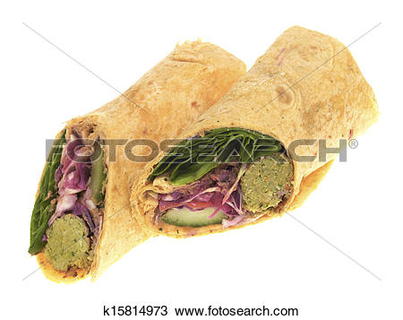 Stock Photo of Falafel and Spinach Wraps k15814973.