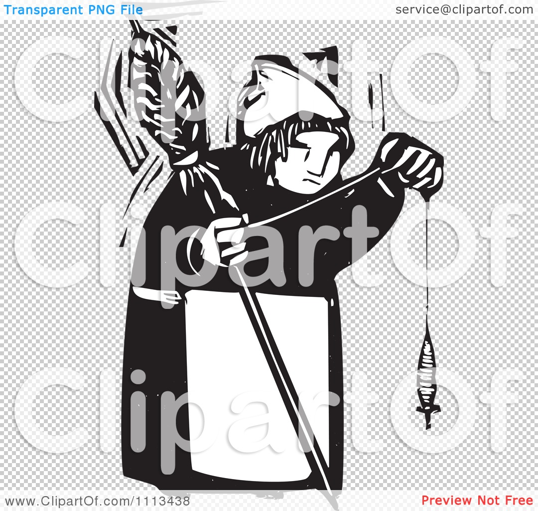 Clipart Woman Holding A Spindle Black And White Woodcut.