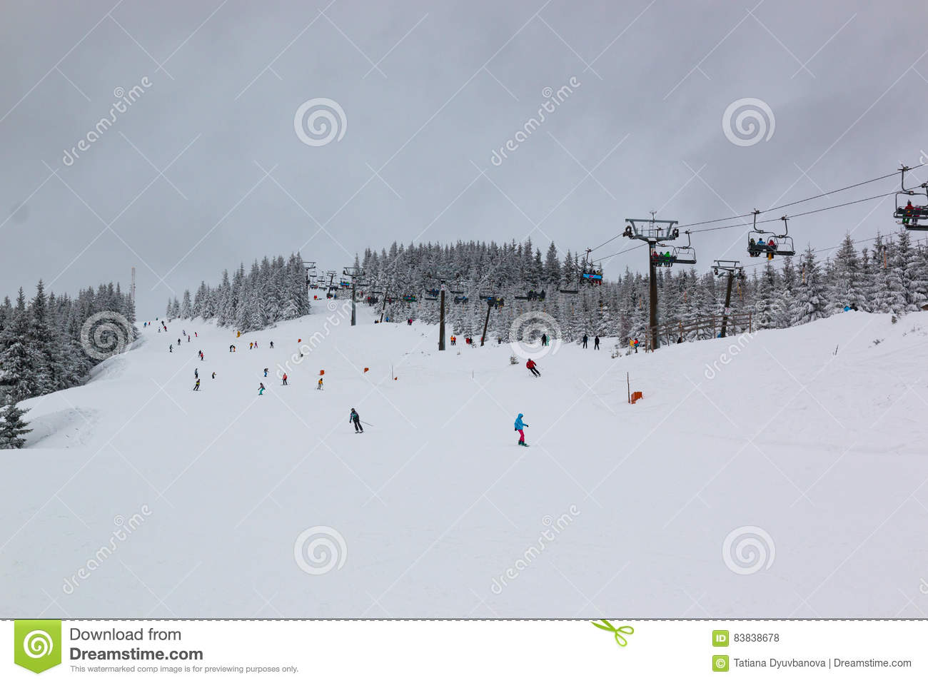 Czech Ski Resort Spindleruv Mlyn, Medvedin In Mountain Krkonose.
