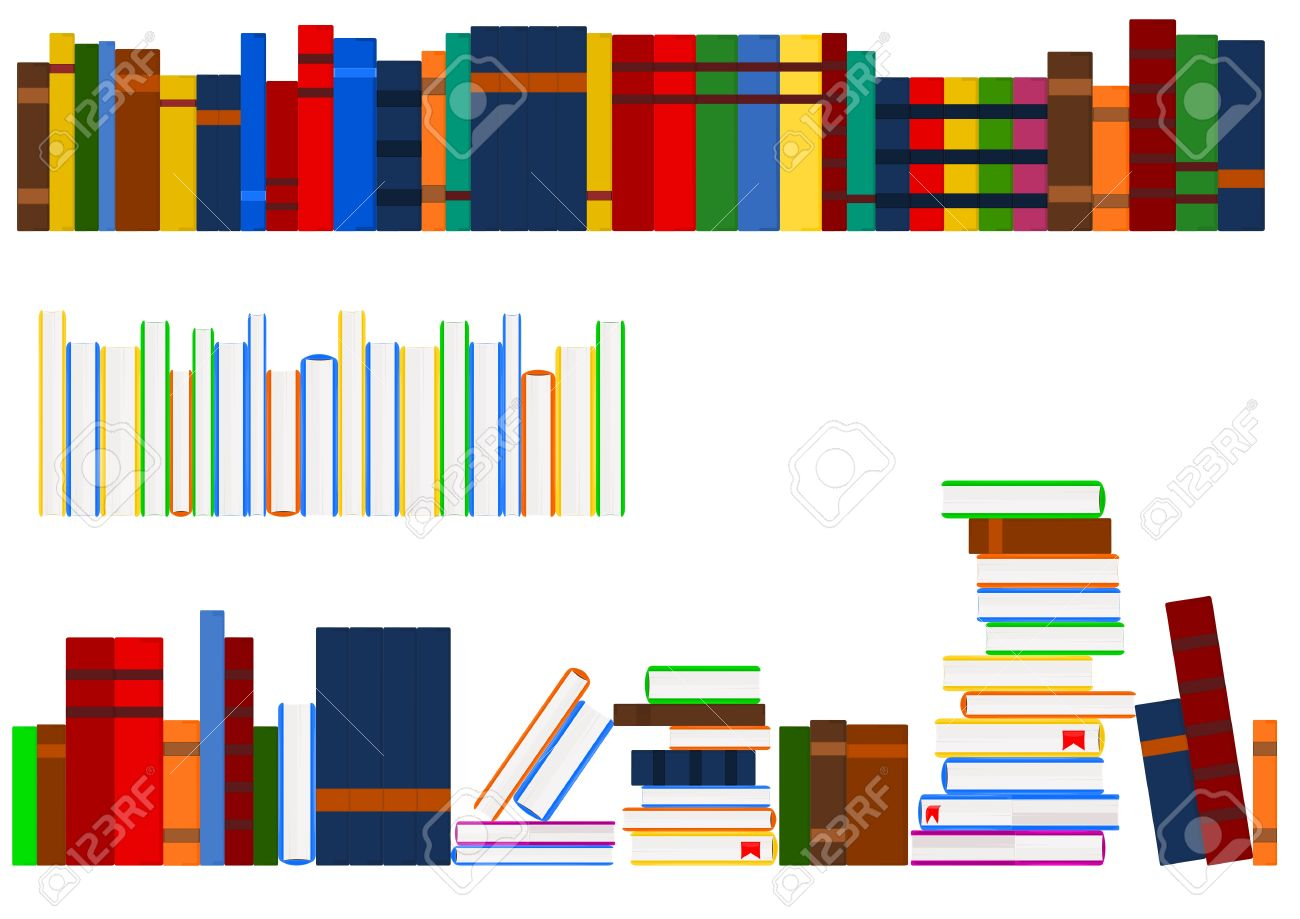 3 stacked book spines and clipart.