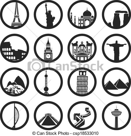 Vector Clip Art of world buildings csp18533010.