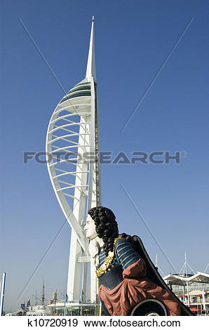 Stock Photograph of Figurehead and Spinnaker Tower, Por k10720919.