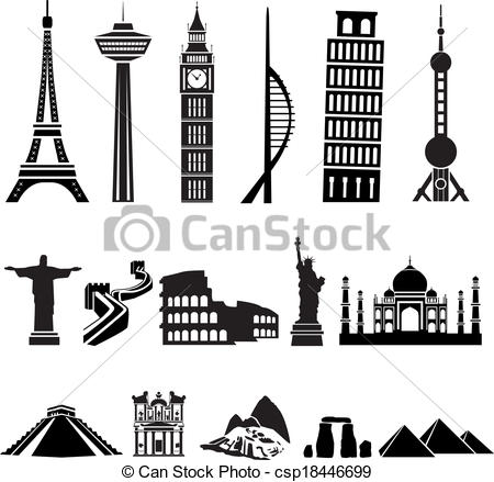 EPS Vectors of world buildings csp18446699.