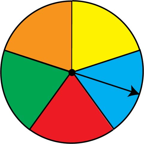 Math Clip Art: Spinner 5 Sections.