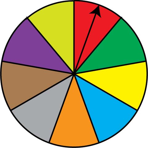 Math Clip Art: Spinner 9 Sections.