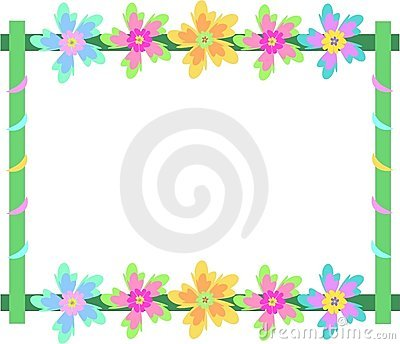Empty Paper With Colorful Flowers Stock Images.