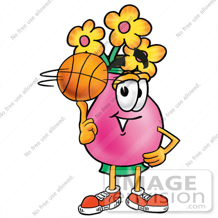 Clip Art Graphic of a Pink Vase And Yellow Flowers Cartoon.