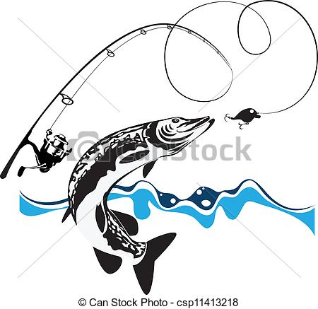 Vector Clip Art of pike, spinning, reel and wobbler, stylized.