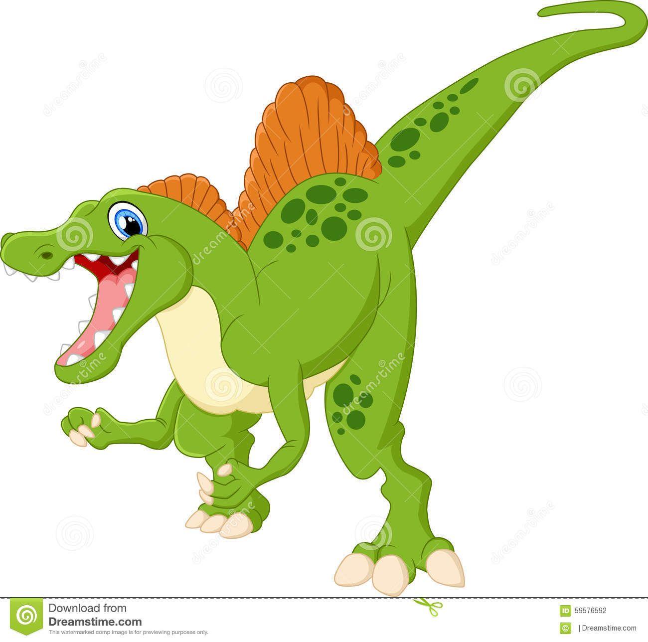 Dinosaur Spinosaurus Cartoon Illustration Stock Vector.