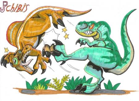 Tyrannosaurus Rex vs. Spinosaurus Aegyptiacus.