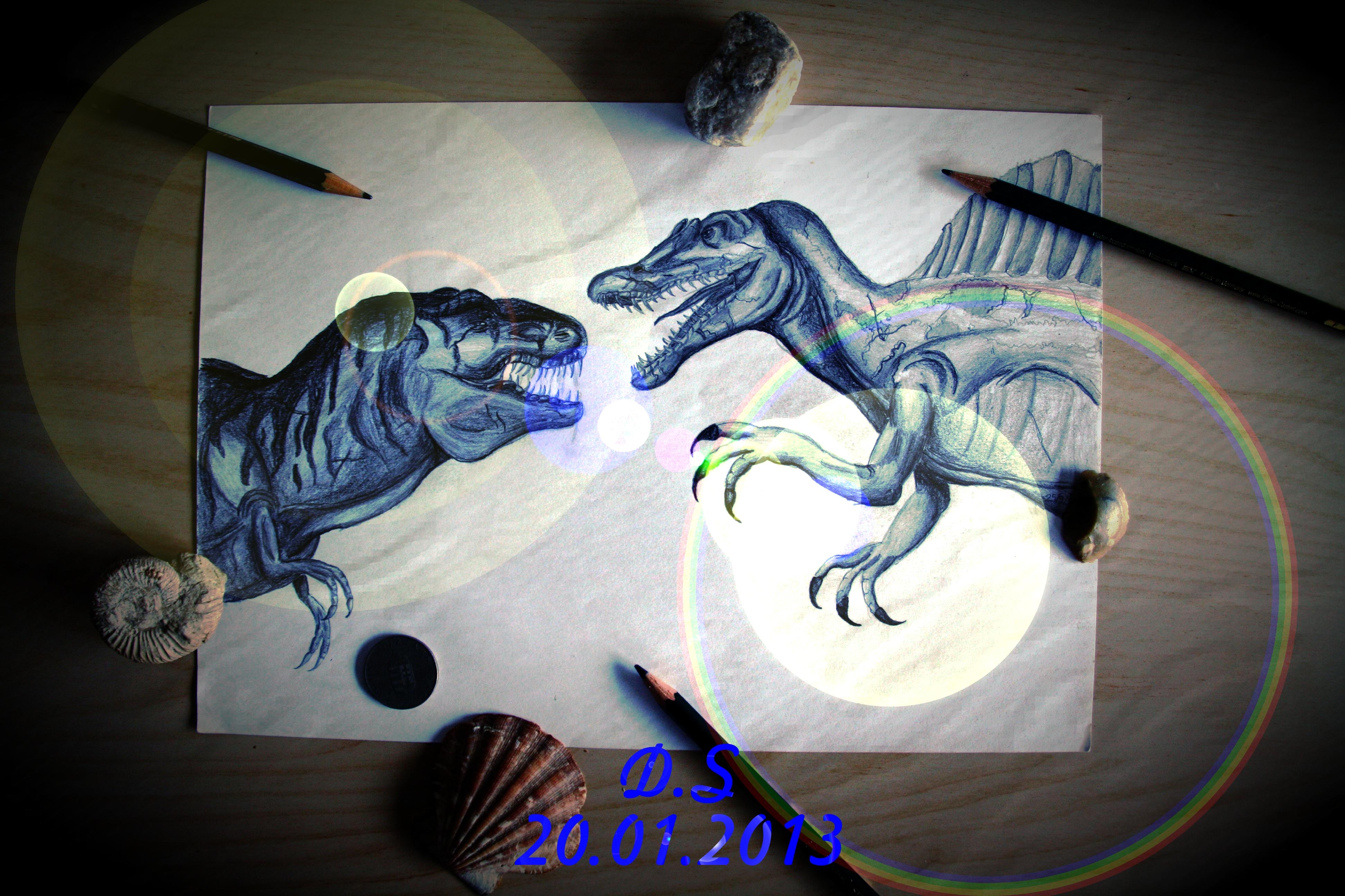 Spinosaurus Vs T Rex Clipart.