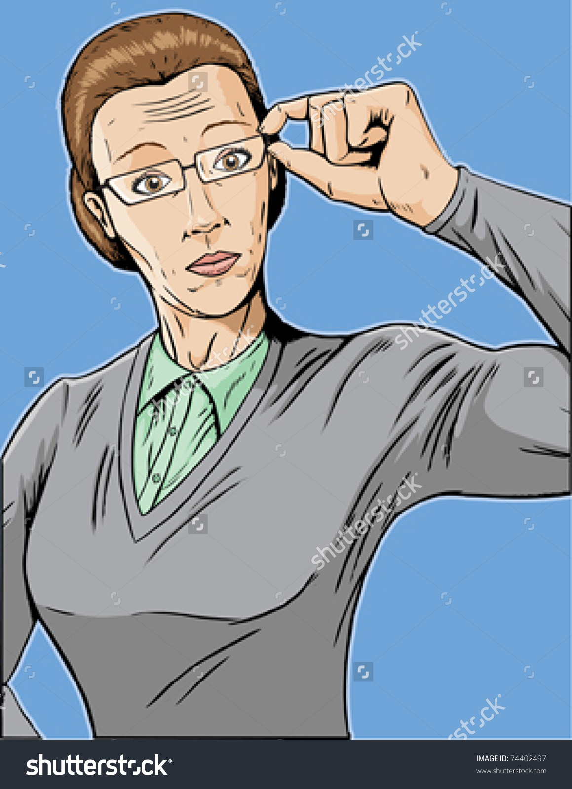 Stern Librarian, Adjusting Her Glasses. Stock Vector Illustration.