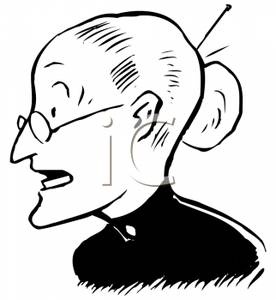 Retro Cartoon of an Old Woman Wearing Glasses.