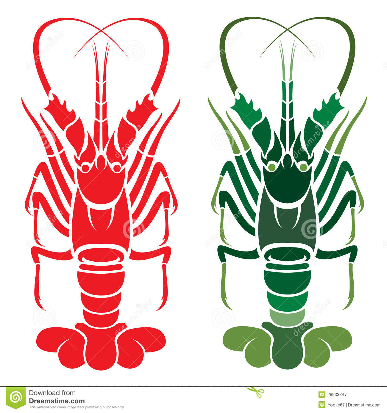 Spiny Lobster Silhouette.