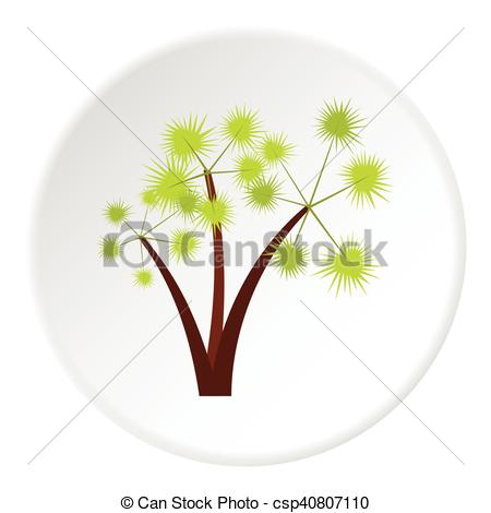 Vector Clip Art of Three spiky palm trees icon, flat style.
