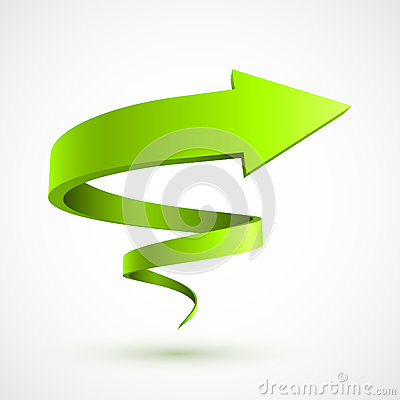 Yellow Spiral Arrow 3D Royalty Free Stock Image.