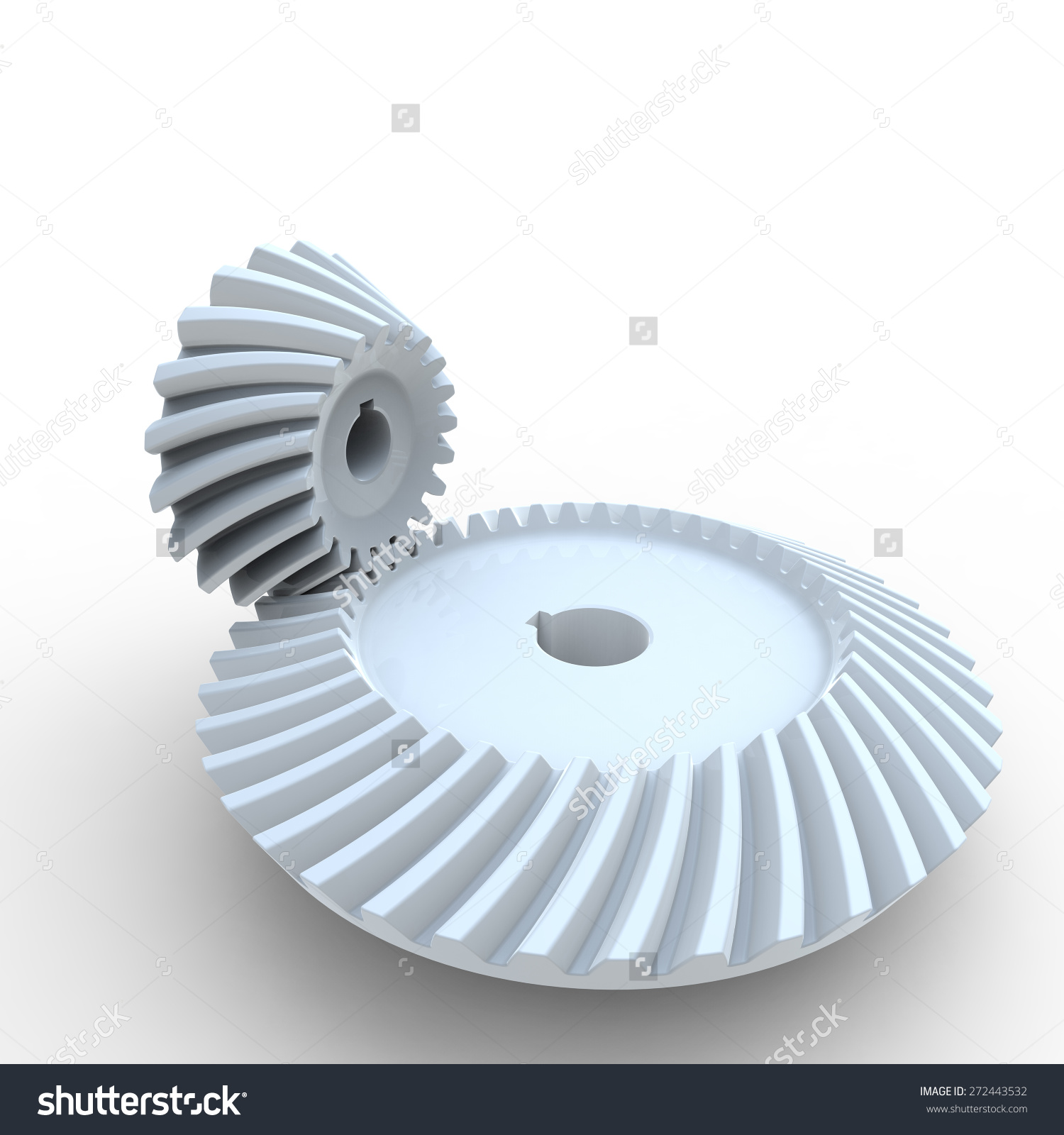 White Nylon Plastic Crown And Pinion Spiral Bevel Gears On A White.