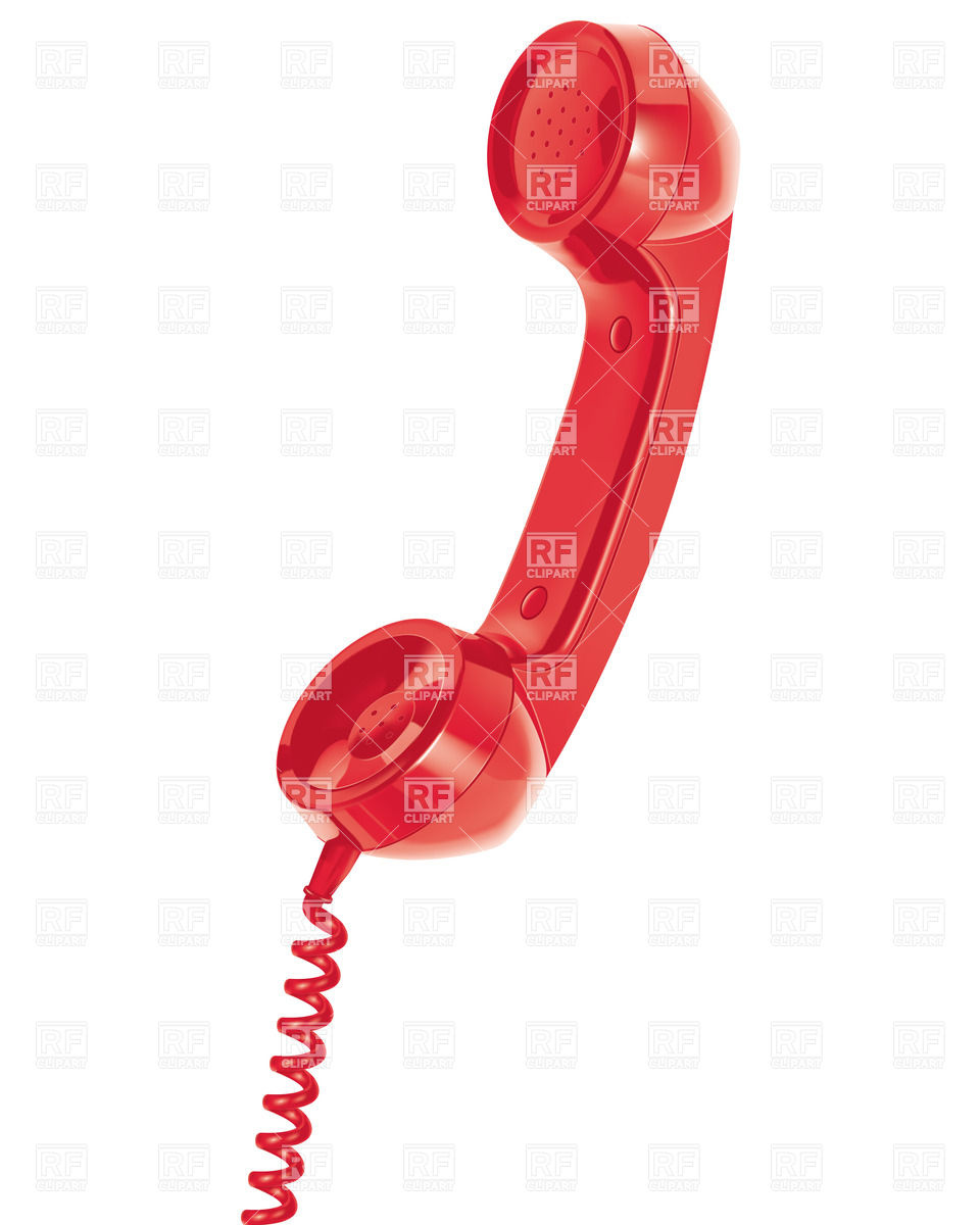 Red handset of old telephone with spiral cable.