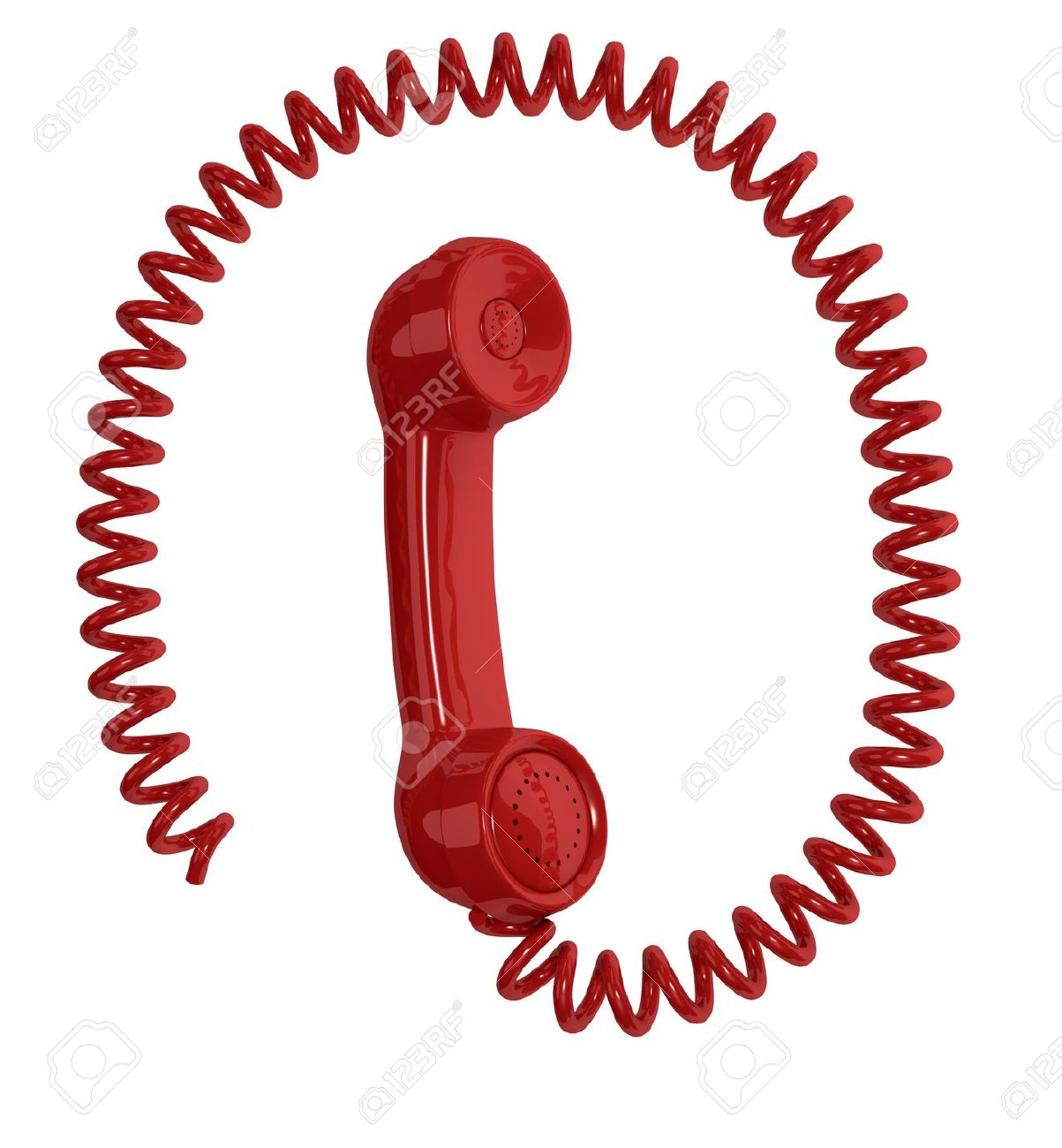 One Vintage Handset With A Spiral Cable Around It, Resembling.
