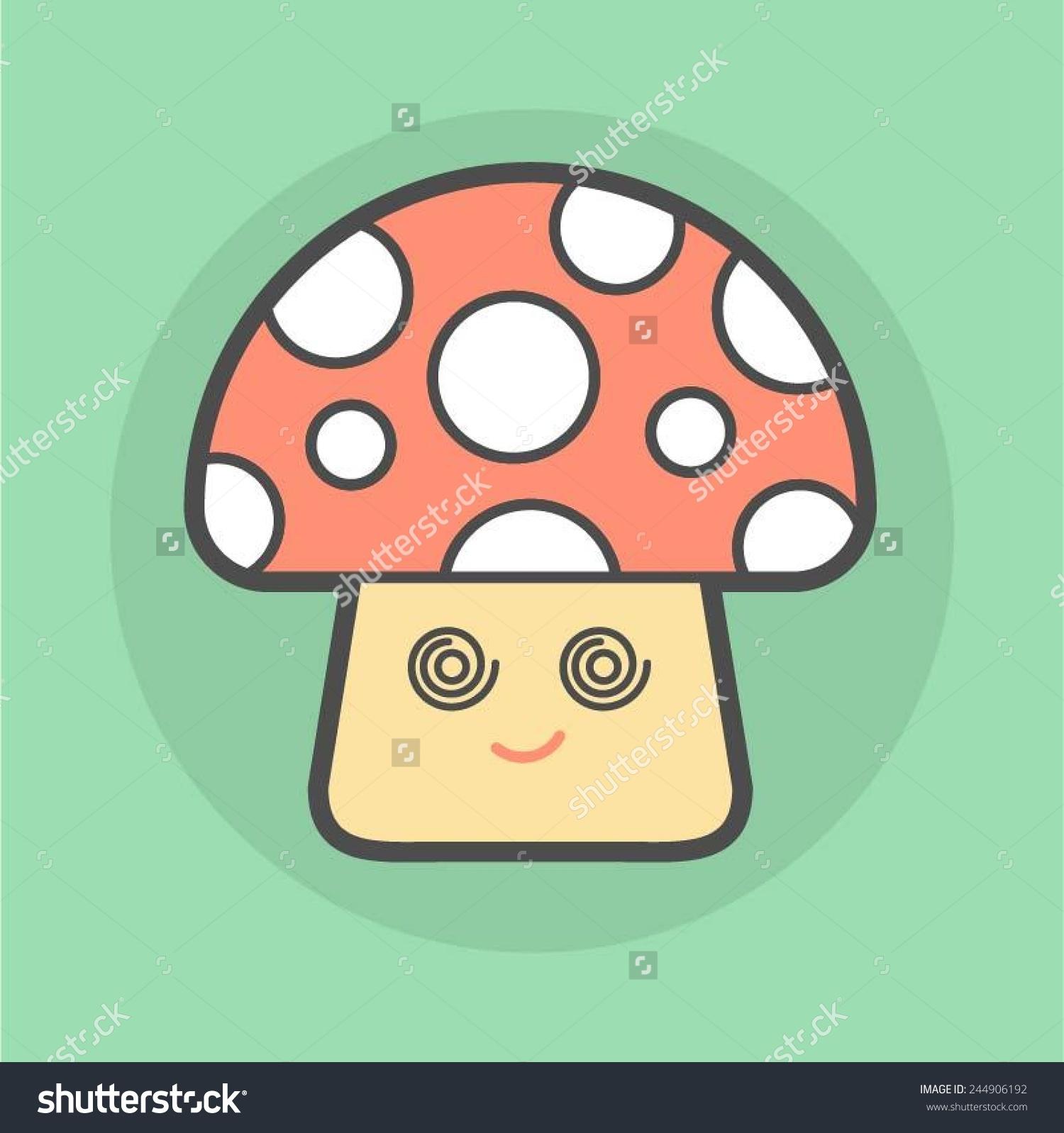Cute Magic Mushroom With Spiral Eyes, Vector Illustration.