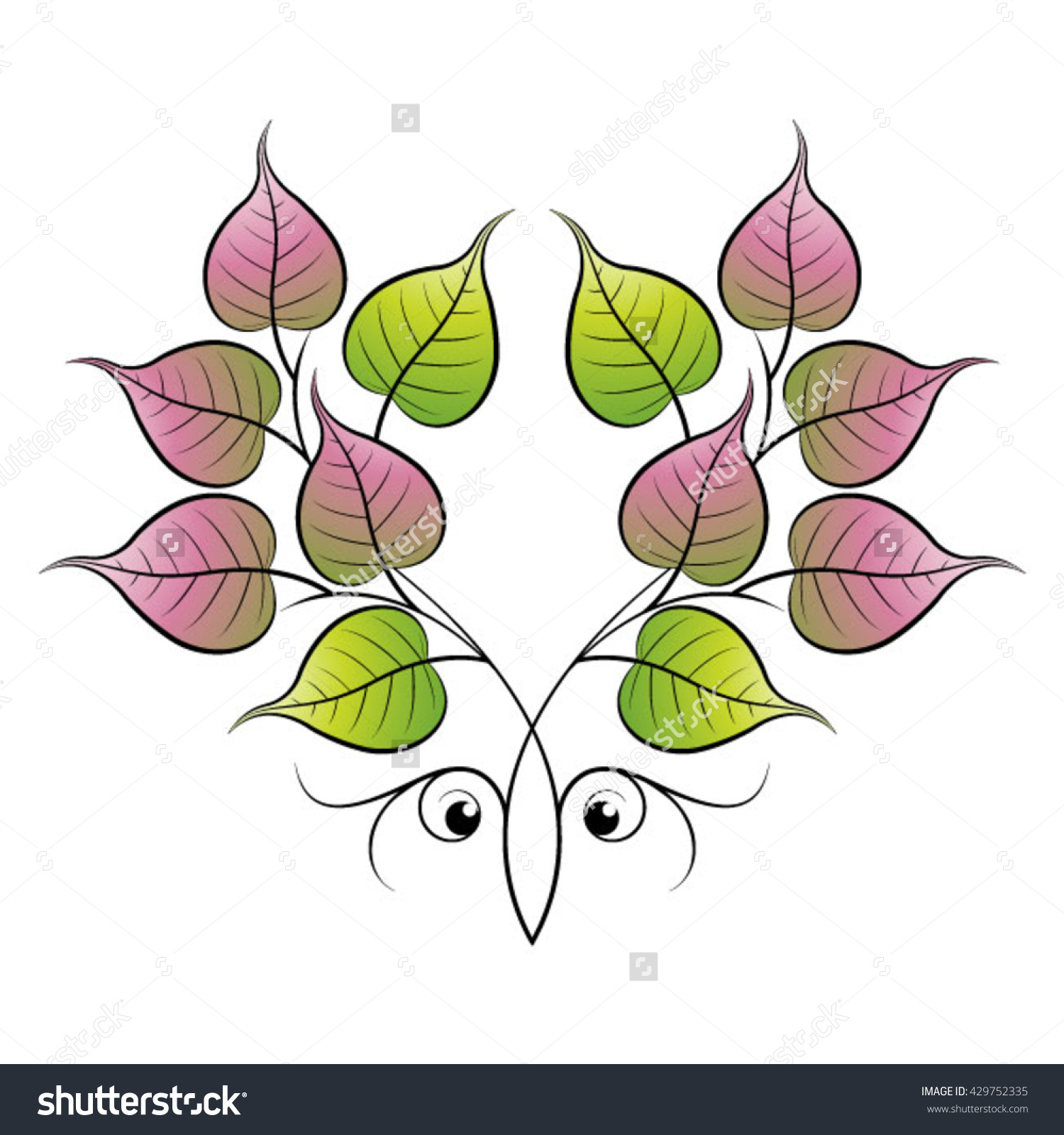 Bo Leaves Spiral Eyesvector Drawing Stock Vector 429752335.